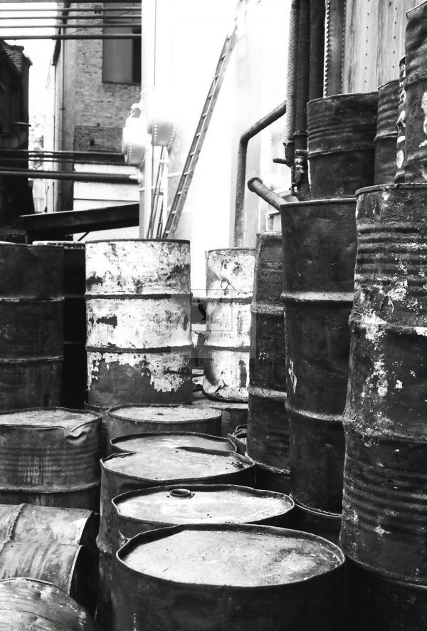 Oil drums London 1950 black and white