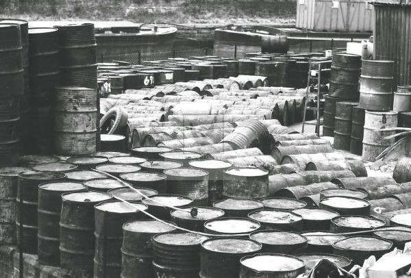 oil drums next to London thames in 1950