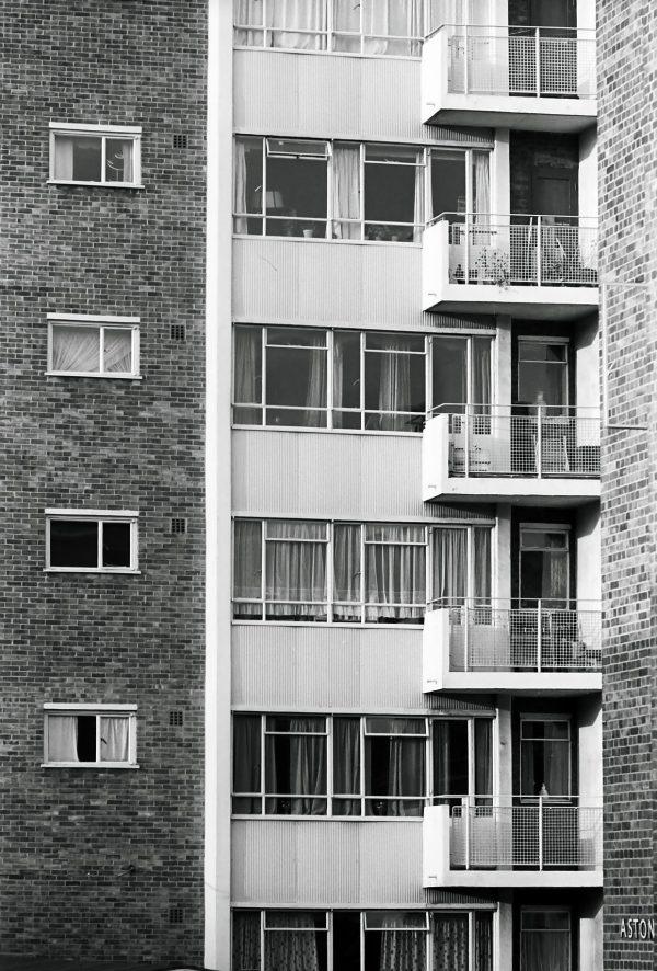 Kensington public housing in borough of Kensington black and white