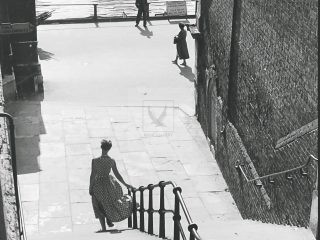 Stairs down to the river thames in 1950 black and white photograph