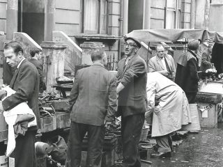 black and white picture of portobello road market 1950s London