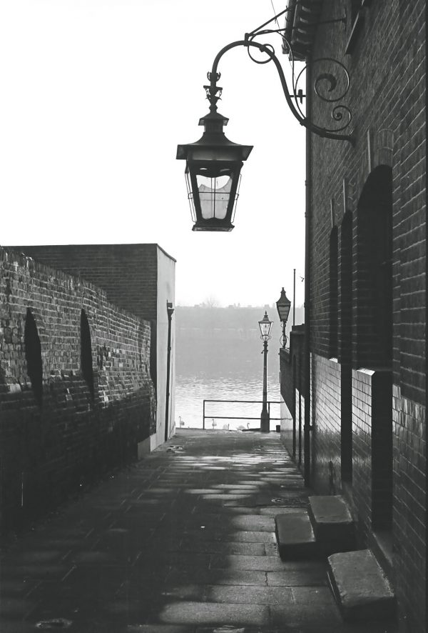 1950s Victorian lamp on river thames black and white vintage view