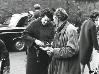 two ladies at portobello road market London 1950