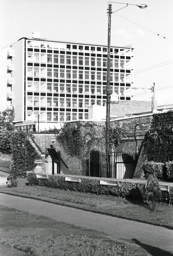 1960s commercial building black and white