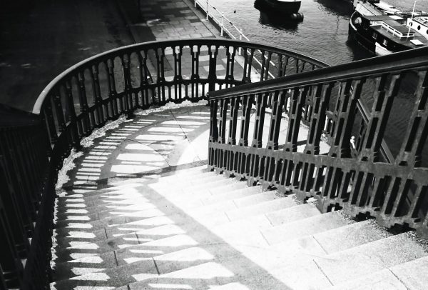 stairway to chiswick pier in 1950s black and white photograph