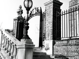iron stairwell London 1950s black and white photograph